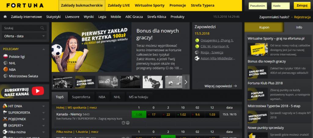 Zakłady Sportowe Fortuna - Widok