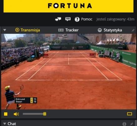 Widok transmisji meczu na żywo - Fortuna